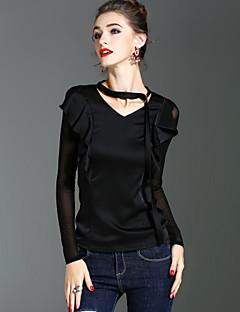 Majica s rukavima Ženske,Vintage Jednostavno Ulični šik Praznik Izlasci Jednobojni-Dugih rukava V izrez-Proljeće Jesen Srednje Poliester
