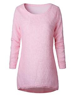 baratos Suéteres de Mulher-Mulheres Básico Pêlo Sintético Pulôver - Sólido Pêlo Sintético