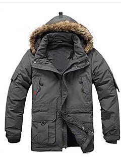 コート レギュラー ダウン メンズ,プラスサイズ ソリッド レッキス ホワイトダックダウン-活発的 長袖