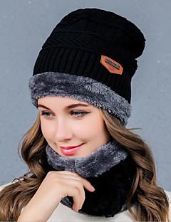 billige Trendy hatter-Dame Hodeplagg Beanie Hatt,Vinter Høst Ensfarget Bomullsblanding Bomull / nylon med et snev av strekningen Ullblanding Ren Farge Svart