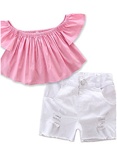 preiswerte -Mädchen Sets einfarbig Baumwolle Polyester Sommer Kurze Hose Kleidungs Set