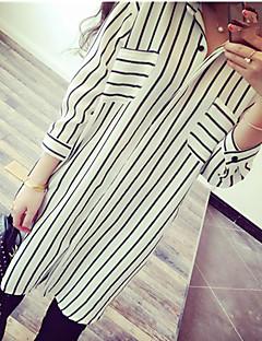 Bomull Skjortekrage Skjorte Stripet Enkel Ut på byen Dame