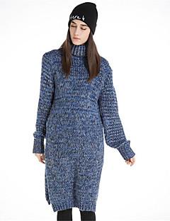 Kadın Günlük/Sade Kılıf Örgü İşi Elbise Solid Desen,Uzun Kollu Boğazlı Midi Yünlü Pamuklu Polyester Sonbahar Kış Normal Bel Mikro-Esnek