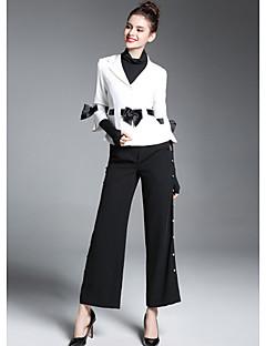Damen Einfarbig Street Schick Ausgehen Anzug,Hemdkragen Winter Lange Ärmel Standard Polyester