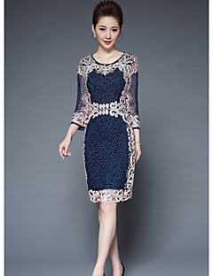 Women's Going out Sheath Dress,Print Round Neck Knee-length 3/4 Length Sleeves Polyester Fall Mid Rise Micro-elastic Medium