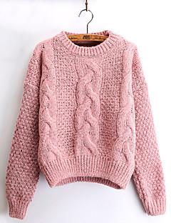 baratos Suéteres de Mulher-Mulheres Manga Longa Mohair Pulôver - Sólido Mohair