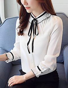 Women's Daily Work Casual Spring Fall Blouse,Solid Stand Long Sleeves Polyester Thin