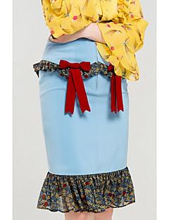 Kadın Sevimli Dışarı Çıkma Diz-uzunluğunda Etekler Bandaj Zıt Renkler Sonbahar
