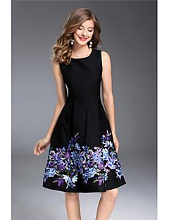 Kadın Dışarı Çıkma Sevimli A Şekilli Elbise Desen,Kolsuz Yuvarlak Yaka Diz-boyu Polyester Yaz Normal Bel Mikro-Esnek Orta