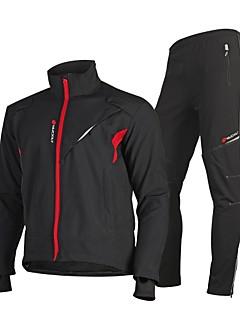 billige Sett med sykkeltrøyer og shorts/bukser-Nuckily Herre Langermet Sykkeljakke - Svart Sykkel Anatomisk design, Refleksbånd