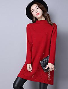 Χαμηλού Κόστους Chic Sweaters Sale-Γυναικεία Μακρυμάνικο Στρογγυλή Ψηλή Λαιμόκοψη Μακρύ Πουλόβερ - Μονόχρωμο