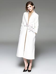 Damen Blumenmuster Chinoiserie Ausgehen Lässig/Alltäglich Trench Coat,V-Ausschnitt Winter Lange Ärmel Lang Wolle Polyester Stickerei