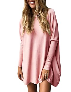 Women's Daily Shirt,Solid Round Neck Long Sleeves Polyester