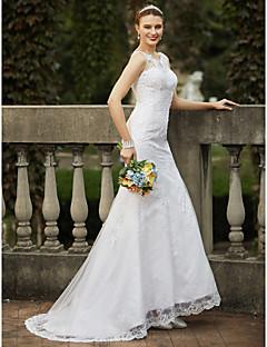 billiga Plusstorlek brudklänningar-Trumpet / sjöjungfru Scoop Neck Svepsläp Tyll Bröllopsklänningar tillverkade med Bård / Applikationsbroderi av LAN TING BRIDE®