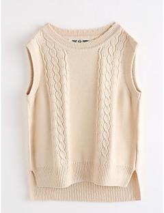 tanie Odzież dla dziewczynek-Tanktop / koszulka na ramiączkach Bawełna Dla dziewczynek Jendolity kolor Jesień Bez rękawów Beige