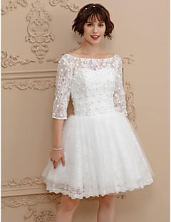 Vestido de noiva de encadernado de ilusão a linha com vestido de noiva de renda curta / mini com beading by amgam