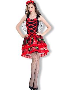 Vampyrer Brud Badedrakt/Kjoler Kvinnelig Halloween De dødes dag Festival/høytid Halloween-kostymer Svart Rød Andre