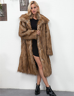 Women's Daily Going out Work Simple Vintage Casual Active Winter Fall Fur Coat,Solid Peaked Lapel Long Sleeve Long Faux Fur Polyester