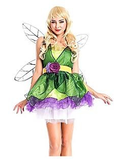 billige Halloweenkostymer-Tingeling Kjoler Vinger Maskerade Dame Jul Halloween Karneval Festival / høytid Halloween-kostymer Grønn Helfarge Mote