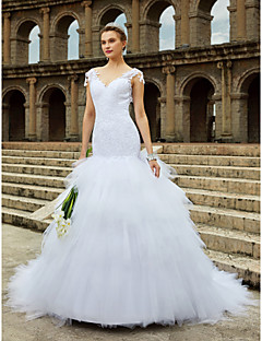 Mermaid / Trumpet V-neck Chapel Train Lace Tulle Wedding Dress with Beading Lace Tiered by LAN TING BRIDE®