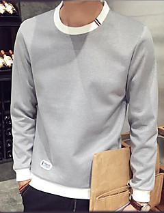 Men's Going out Sweatshirt Color Block Round Neck Micro-elastic Others Long Sleeve Spring Fall