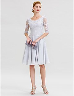 A-Line Scoop Neck Knee Length Chiffon Lace Mother of the Bride Dress with Beading Appliques Ruching by LAN TING BRIDE®