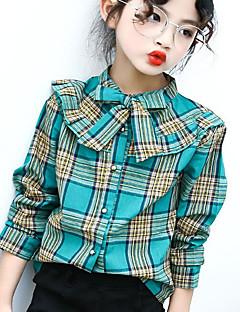 Jente Skjorte Skotskrutet Polyester Høst Langermet