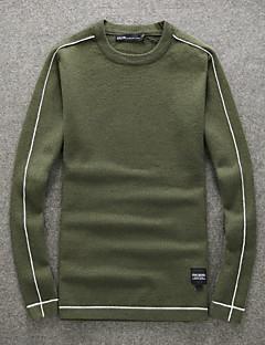 tanie Męskie swetry i swetry rozpinane-Męskie Wełna Okrągły dekolt Pulower Jendolity kolor