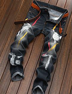 billige Herrebukser og -shorts-Herre Lin Jeans / Chinos Bukser - dratt, Ensfarget