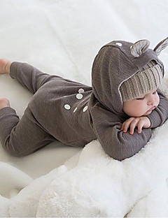 billige Barns Moteklær-Baby Endelt Polka Prikker Bomull Vår Høst Langt Erme