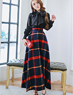 Women's Going out Vintage Fall Shirt Skirt Suits,Solid Round Neck Long Sleeve Micro-elastic