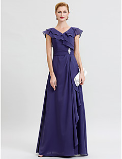 cheap Mother of the Bride Dresses-A-Line V Neck Floor Length Chiffon Mother of the Bride Dress with Sash / Ribbon Crystal Brooch by LAN TING BRIDE®