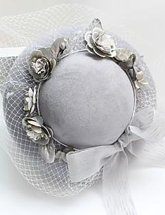 billige Trendy hatter-Dame Hatt Tradisjonell/vintage Chic & Moderne Elegant & Luksuriøs Bryllup Bøttehatt,Vinter Vår/Vinter Ensfarget Flanell Grå