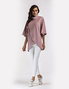 Women's Daily Holiday Street chic Shirt,Solid Stand Long Sleeves Polyester