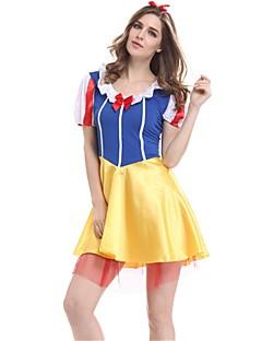 billige Halloweenkostymer-Prinsesse Snø Kjoler Cosplay Kostumer Dame Halloween Karneval Festival / høytid Halloween-kostymer Gul Helfarge