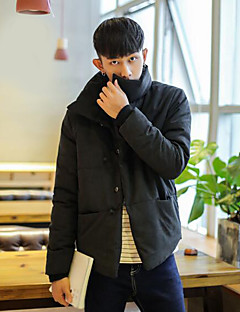 Men's Padded Coat,Casual Daily Solid-Others Cotton Long Sleeves