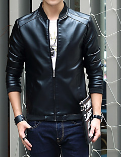 Men's Casual/Daily Club Plus Size Casual Vintage Winter Fall Leather Jacket