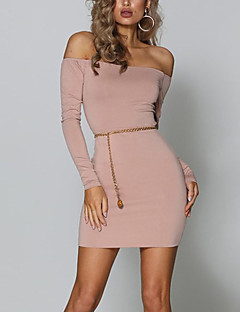 Women's Going out Casual/Daily Club Sexy Simple Street chic Bodycon Dress,Solid Boat Neck Mini Long Sleeves Polyester Spring Fall High