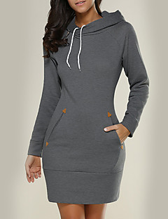 Women's Holiday Casual/Daily Hoodie Solid Hooded Inelastic Polyester Long Sleeve Fall Winter