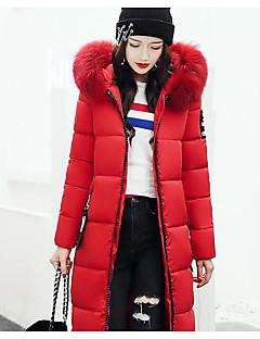 Damen Daunen Mantel Einfach Ausgehen Lässig/Alltäglich Solide-Baumwolle Polyester Baumwolle Polypropylen Langarm