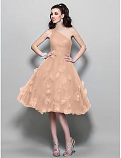 billiga Cocktailklänningar-A-linje Enaxlad Knälång Tyll Cocktailfest / Bal Klänning med Bård / Blomma av TS Couture®