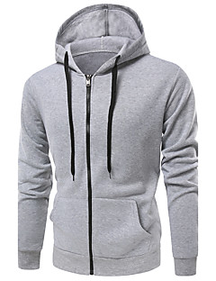 Men's Sports Casual/Daily Hoodie Solid Print Hooded Micro-elastic Cotton Long Sleeve Fall Winter