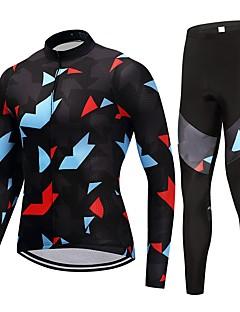 חולצה וטייץ לרכיבה יוניסקס שרוול ארוך אופניים מדים בסטים ייבוש מהיר קלאסי אופנתי סתיו אביב רכיבה על אופניים/אופנייים שחור