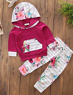 billige Tøjsæt til piger-Pige Tøjsæt Ensfarvet Blomstret Stribe, Bomuld Polyester Forår Efterår Langærmet Blomster Pænt tøj Stribet Vin
