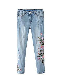 Dámské Natahovací Kalhoty chinos Kalhoty Rovné Mid Rise Výšivka