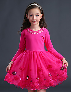 Girl's Birthday Going out Solid Floral Dress,Cotton Polyester Winter Fall Long Sleeve Blushing Pink Purple Fuchsia