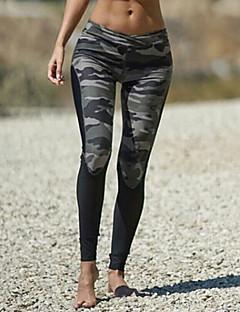 baratos Leggings para Mulheres-Mulheres Cordão Bordado / Esportivo / Estampada Legging - camuflagem Cintura Média