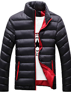 Men's Padded Coat Daily Solid-Cotton Polyester Long Sleeves