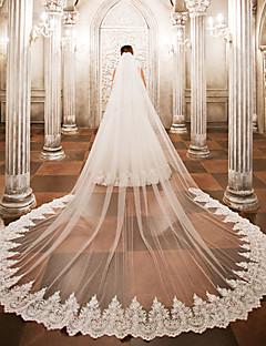 Недорогие -Свадебные вуали Один слой Фата для венчания Кружева Тюль