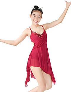 cheap Ballet Dance Wear-Ballet Dresses Women's Performance Elastic Lycra Paillette Ruffles Sleeveless Natural Dress Headwear